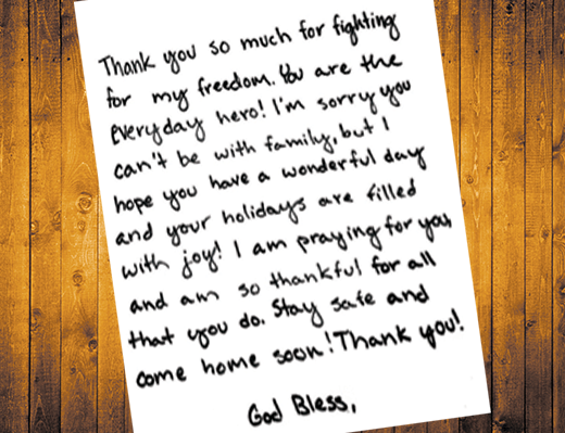 students write letters to soldiers abroad