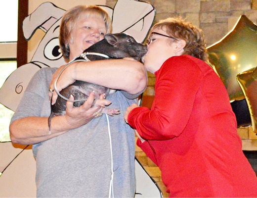 Kiss a pig contest winner